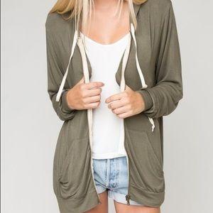 🌟Brandy Melville khaki zip up hoodie